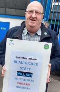 ON THE PICKET LINE: Denis Keatings was tireless in service of workers in health and social care sector