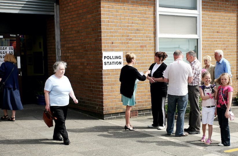 PROTECTING THE FRANCHISE: Electors at St Teresa's polling station at EU election