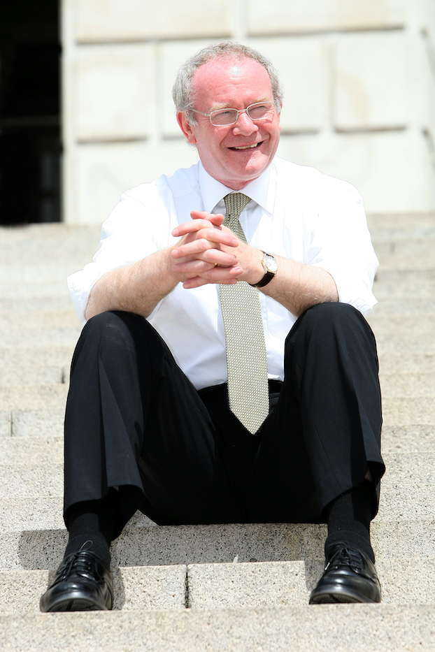 SEAT OF POWER: Martin McGuinness on the Stormont steps in 2008
