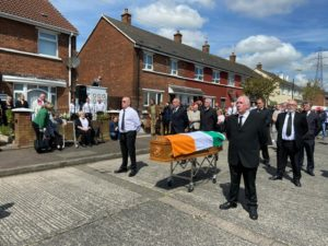LAID TO REST: Jim Scullionwho led IRA prisoners in the cages of Long Kesh in seventies passes away from Covid-19 and is buried from his Turf Lodge home