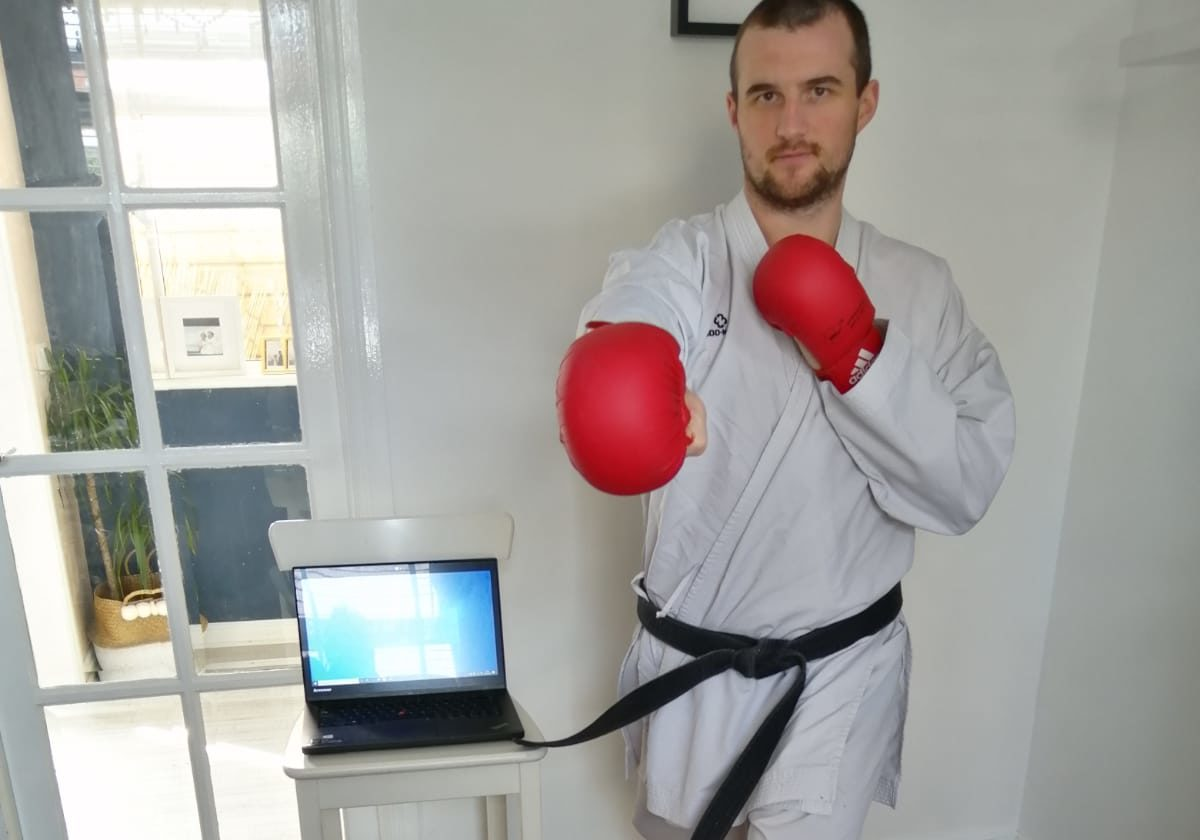 International karate coach James Brunton is streaming karate lessons from his home