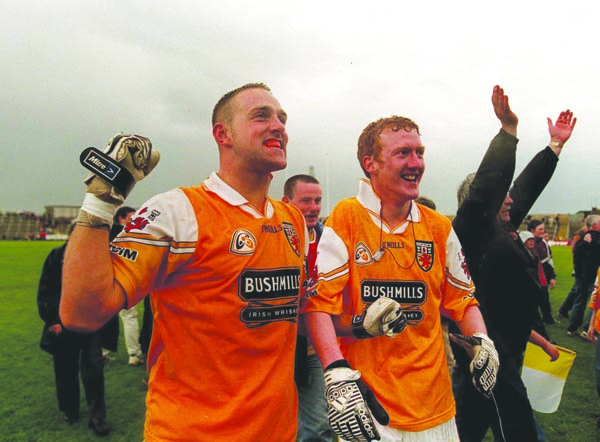 Joe Quinn and Tony Convery celebrate