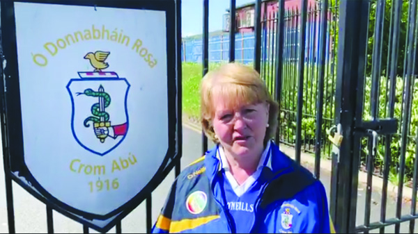 Chairperson Margaret Flynn sets off to complete her distance from the gates of Rossa Park on Monday morning