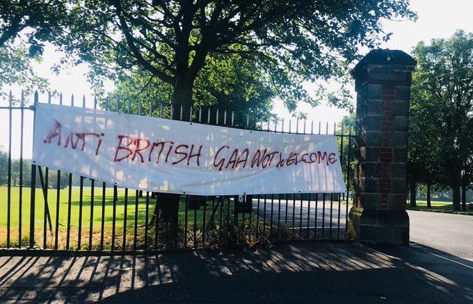 HATE MESSAGE REMOVED: The banner threatening GAA players at Grove Playing Fields last weekend was removed by Council officials.