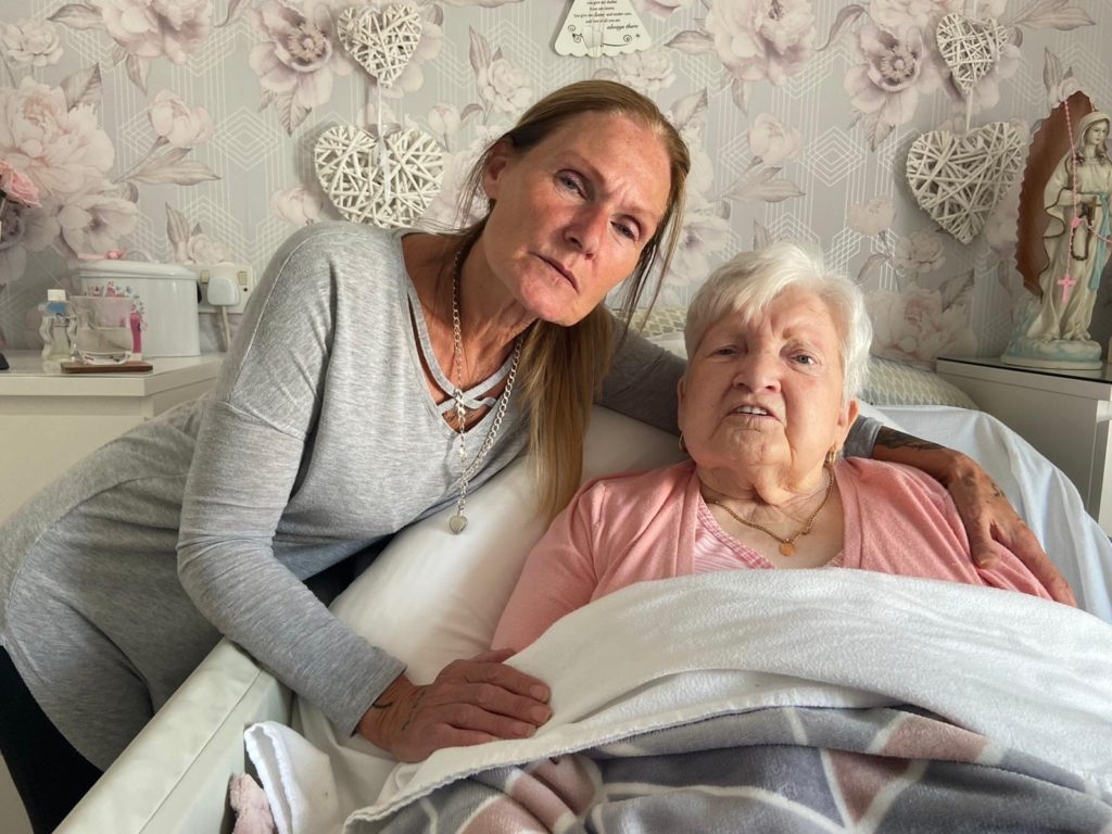 NIGHTMARE ORDEAL: Lorraine Kavanagh comforts her mother Margaret who suffers from dementia and is terminally ill