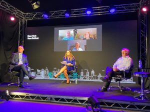 BRIDGEBUILDING: Michelle Hatfield of Belfast City Airport interviews Joe O'Neill, CEO Belfast Harbour and Michael McAdam, founder Moviehouse cinemas, as panelists are Zoomed in from the US, during yesterday's conference.