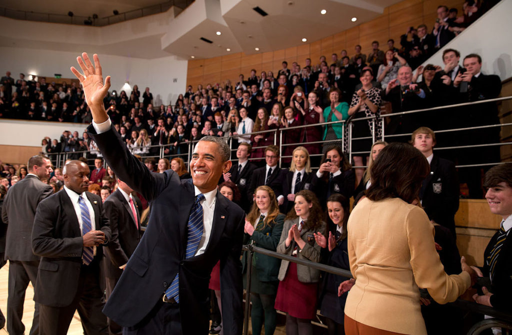 AFRICAN WELCOME: Barack and Michelle Obama visit the Waterfron Hall in Belfast June 2013.