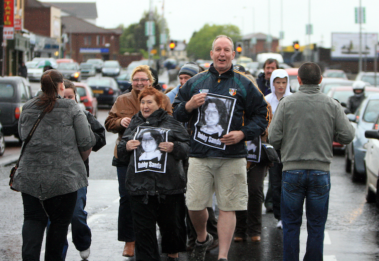 VETERAN: Bobby Storey taking part in a 2009 Andersonstown Road, Black Flag Vigil on the anniversary of Bobby Sands death.