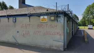 HATE MESSAGE: Sectarian slogans were also daubed on Council property in Grove Playing Fields