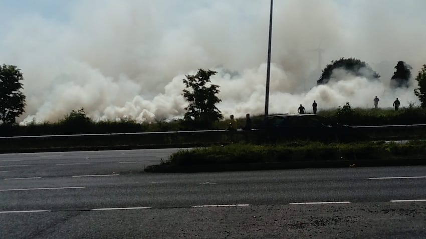 FIRE ON THE MOUNTAIN: Smoke clouds from fire at Glenmona site this afternoon