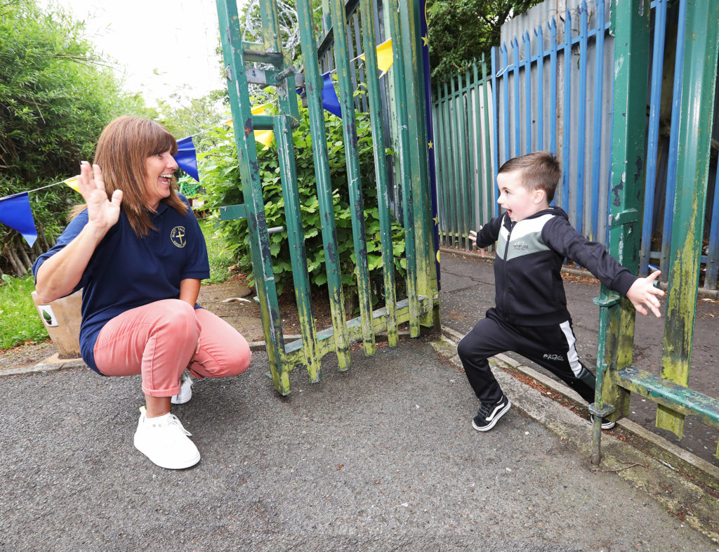 FAREWELL CHUM: Riley Gourley with Principal Miss McStravick at Matt Talbot Nursery. Pic by Jim Corr.