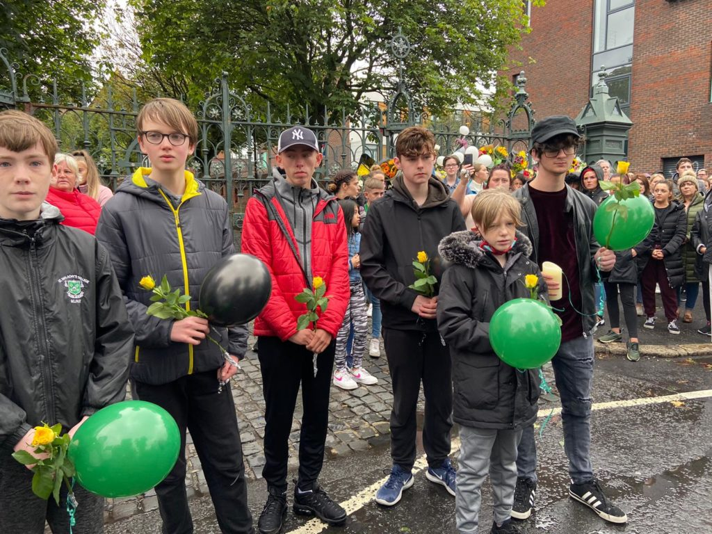 HEARTBREAK: Schoolchums of Noah at the St Malachy's College vigil this evening