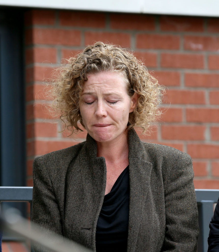 ANGUISH: Fiona Donohoe, mother of Noah, at Wednesday's press conference
