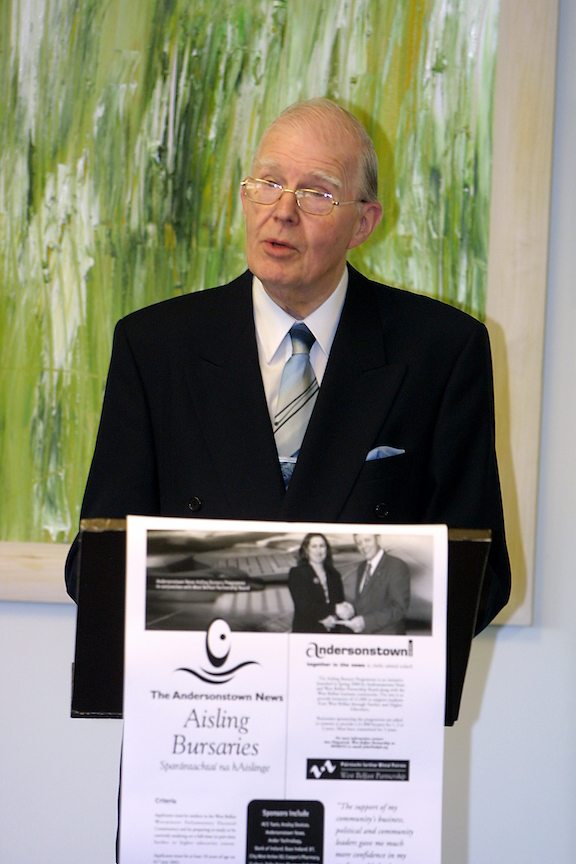 OPPORTUNITY: The late Sir George Quigley launching the Aisling Bursaries in the offices of the Belfast Media Group back in April 2002.