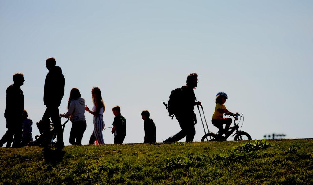 NEW ERA: Walkers social distancing at the Waterworks