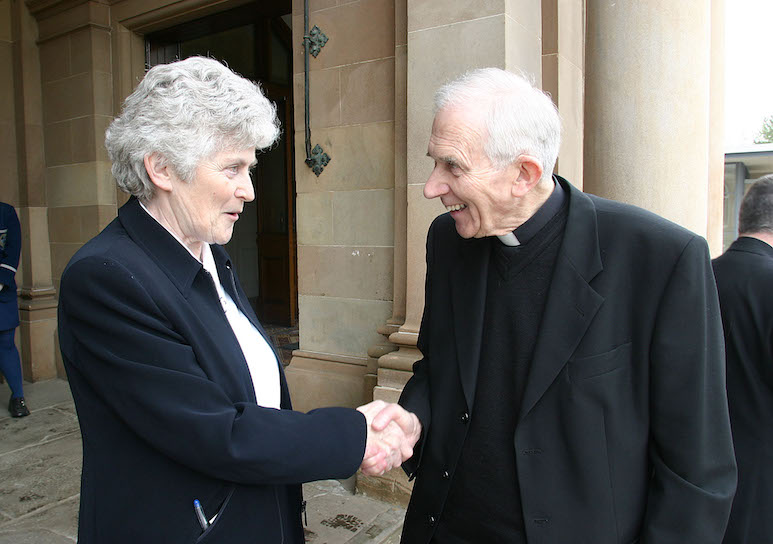 FLASHBACK: The principal of Rathmore Sr Ursula Canavan welcomes Bishop Patrick Walsh to the school for the rededication of the convent chapel at the grammar school.[/caption]