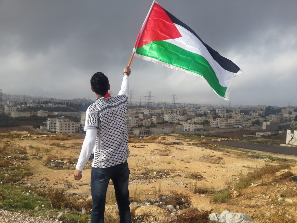 SECURITY COUNCIL HOPES: A young man waves the Palestinian flag as he looks across the border to Jordan. Pic by Ahmed Abu Hameeda, unsplash.com