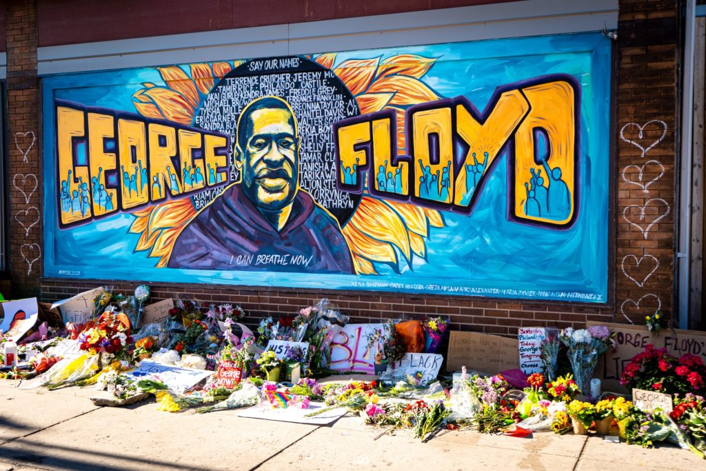 TRIBUTE: A mural in Minneapolis honouring George Floyd who was killed by a police officer who placed his knee on his neck for almost nine minutes preventing him from breathing. Pic by Munshots, Unsplash.