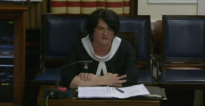 First Minister Arlene Foster at today's sitting of the Executive Office Committee[/caption]