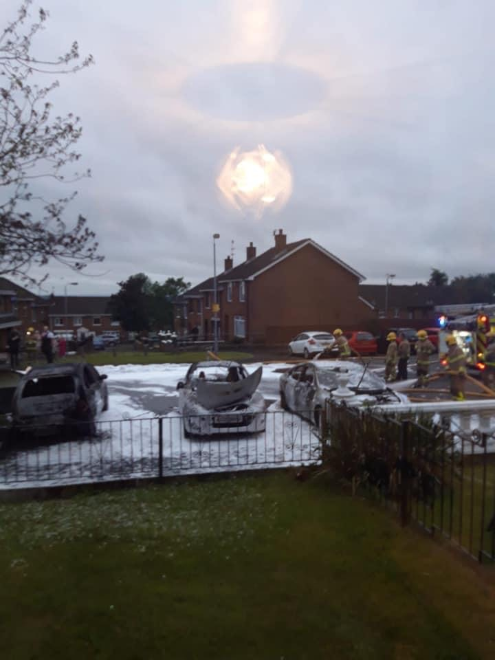 AFTERMATH: Three cars destroyed by lone arsonist.