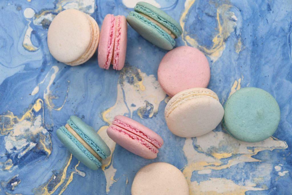 TASTY TREATS: Rachel Hanretty, below, has used the furlough scheme to keep Mademoiselle Macaron going.