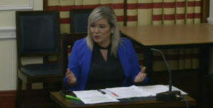 Deputy First Minister Michelle O'Neill answering questions from MLAs this afternoon[/caption]