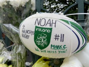 WE WILL MISS YOU: St Malachy's Rugby team left a ball at the gate of the college in memory of team-mate Noah