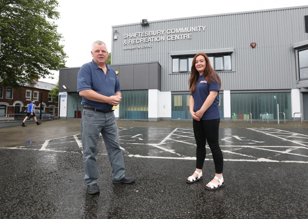 PLAY YOUR PART: Gerard Rice and Natasha Brennan say it's key to keep users safe from Covid as centre reopens.[/caption]